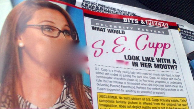 PHOTO: Seen in this blurred photo, a photoshopped explicit image published in Hustler magazine shows S.E. Cupp engaged in a sex act.
