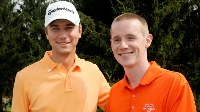 PHOTO: Chris Logan, right, poses with Sean OHair at the 18th hole of the AT&T National.