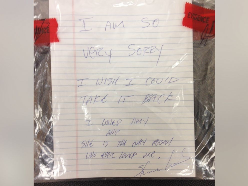 PHOTO: The Gautier Police Department provided this photo of a note they say was discovered at the scene of a murder. The police said this was a handwritten note signed by the suspect, Shannon Lamb.
