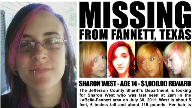 PHOTO: Sharon West (age 14) vanished at 2:00am on July 30, 2011.