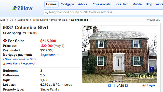 PHOTO:The real estate listing for the home at 9337 Columbia Blvd, Silver Spring, MD, as seen on Zillow.com.