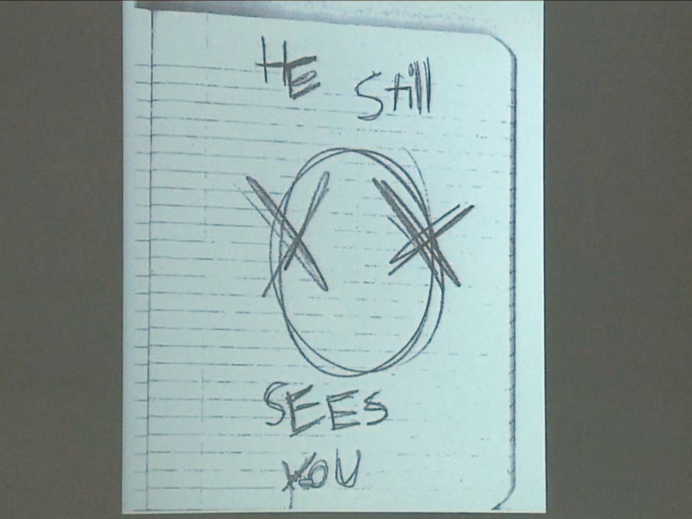 PHOTO: These photos from inside Slender Man stabbing suspect Morgan Geysers notebook were shown in Waukesha County Court on Monday Feb. 16.