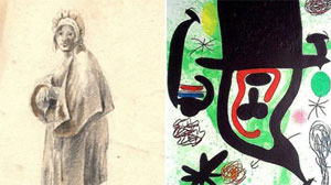 Dutch Woman by Vincent Van Gogh and a painting by Miro