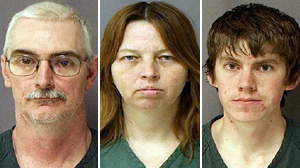PHOTO Hutaree group members, from left, David Stone, Sr., Tina Stone, and David Stone, Jr. are shown in their mugshots.
