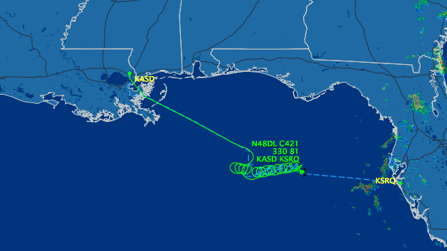 PHOTO: Map showing flight path of unresponsive plane