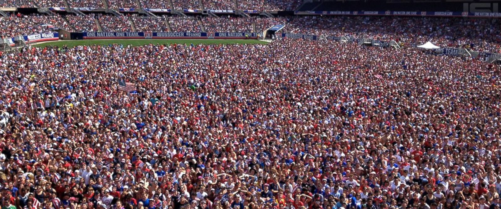 PHOTO: The official U.S. Soccer twitter feed posted this image of the massive crowd at Soldier Field in Chicago gathered to watch the United States versus Belgium World Cup match on July 1, 2014.