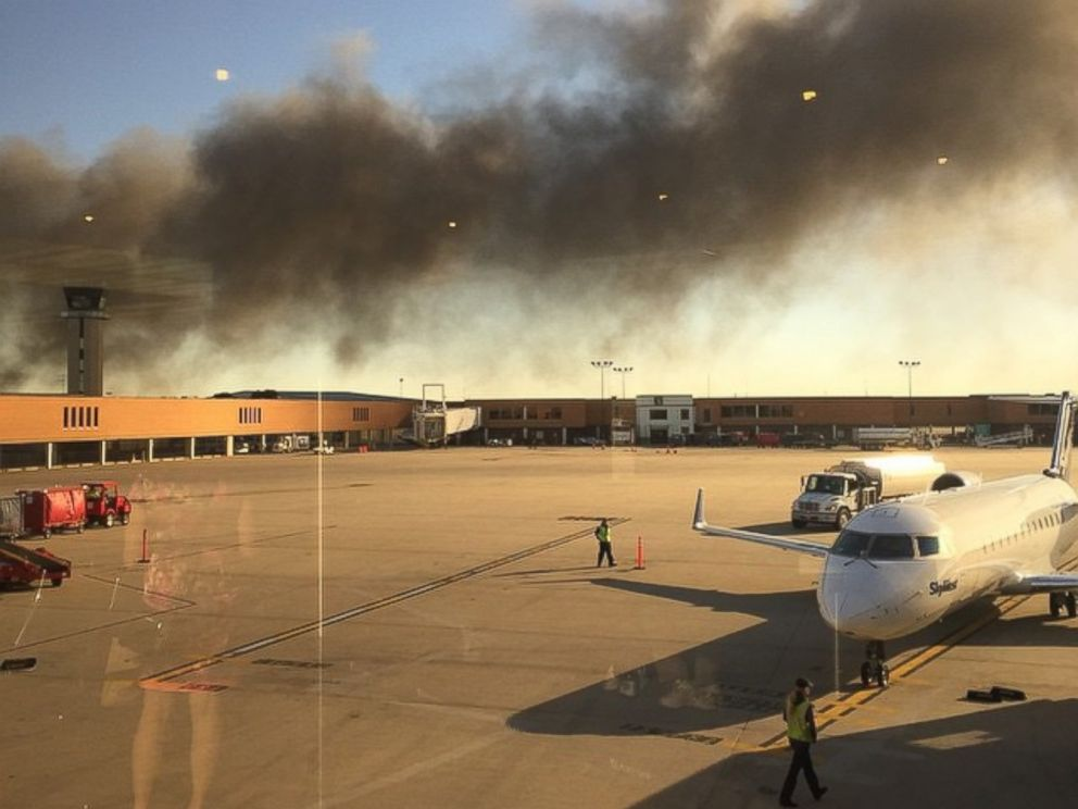 PHOTO: A passenger at the Mid Continent airport in Wichita, Kansas posted this photo to Instagram on Oct. 30, 2014 with the caption, Not exactly what you want to see before boarding an airplane. #fire