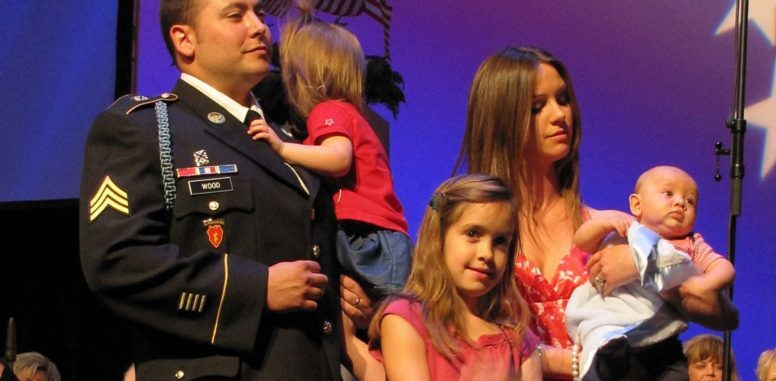 PHOTO: Brian Wood, left, pictured with his family.