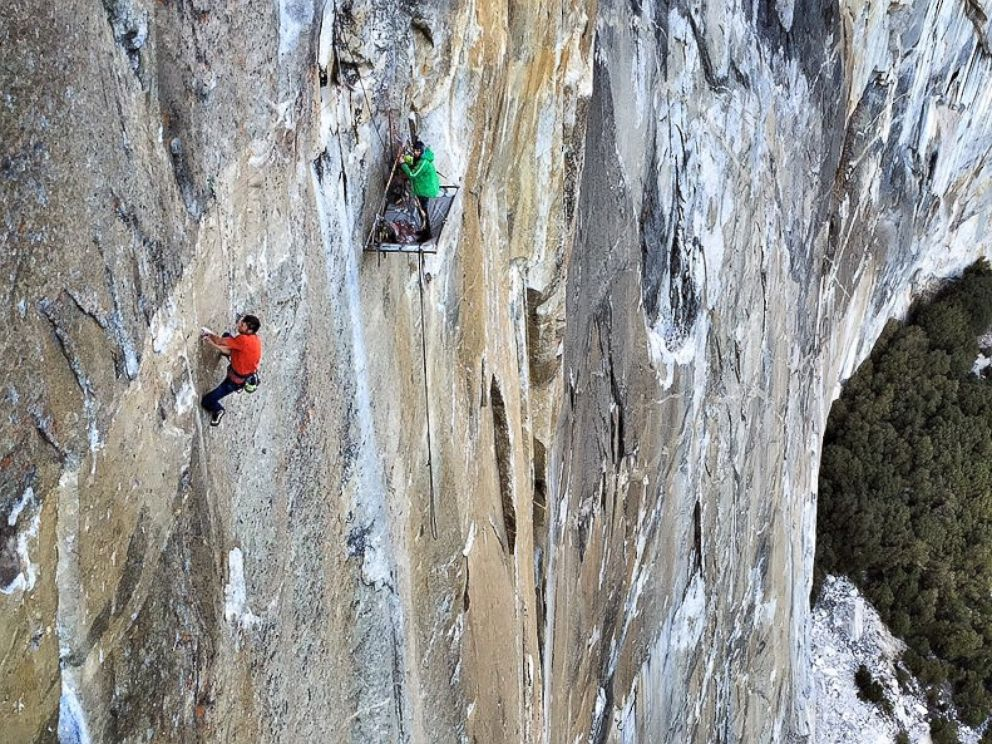 PHOTO: Kevin Jorgeson and Tommy Caldwell are seen in this undated photo climbing the face of El Capitan in Yosemite National Park, California.