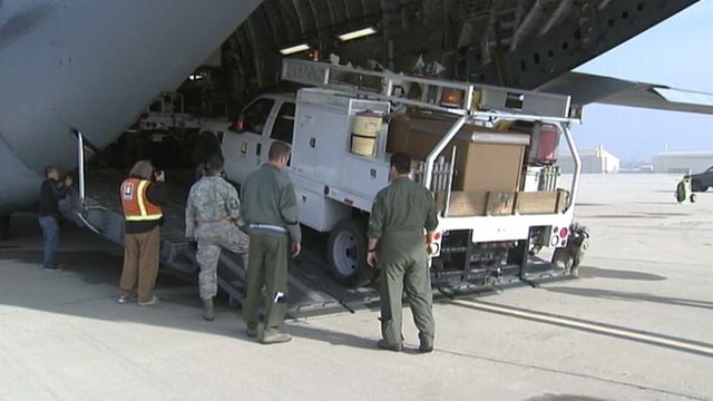 VIDEO: Vehicles and crews sent to assist with the power restoration efforts after superstorm Sandy.