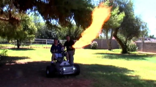VIDEO: Lance Greathouses customized creations include flame-throwers, lights, horns, and fake guns.