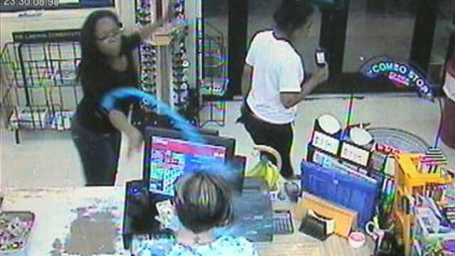 VIDEO: customers frozen-drink throw also knocked out the Oklahoma stations ability to pump gas.