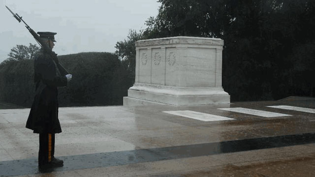 PHOTO:A lone Tomb Sentinel, 3d U.S. Infantry Regiment (The Old Guard), walks his tour in humble reverence during Hurricane Irene in Arlington National Cemetery, Va., Aug 27.