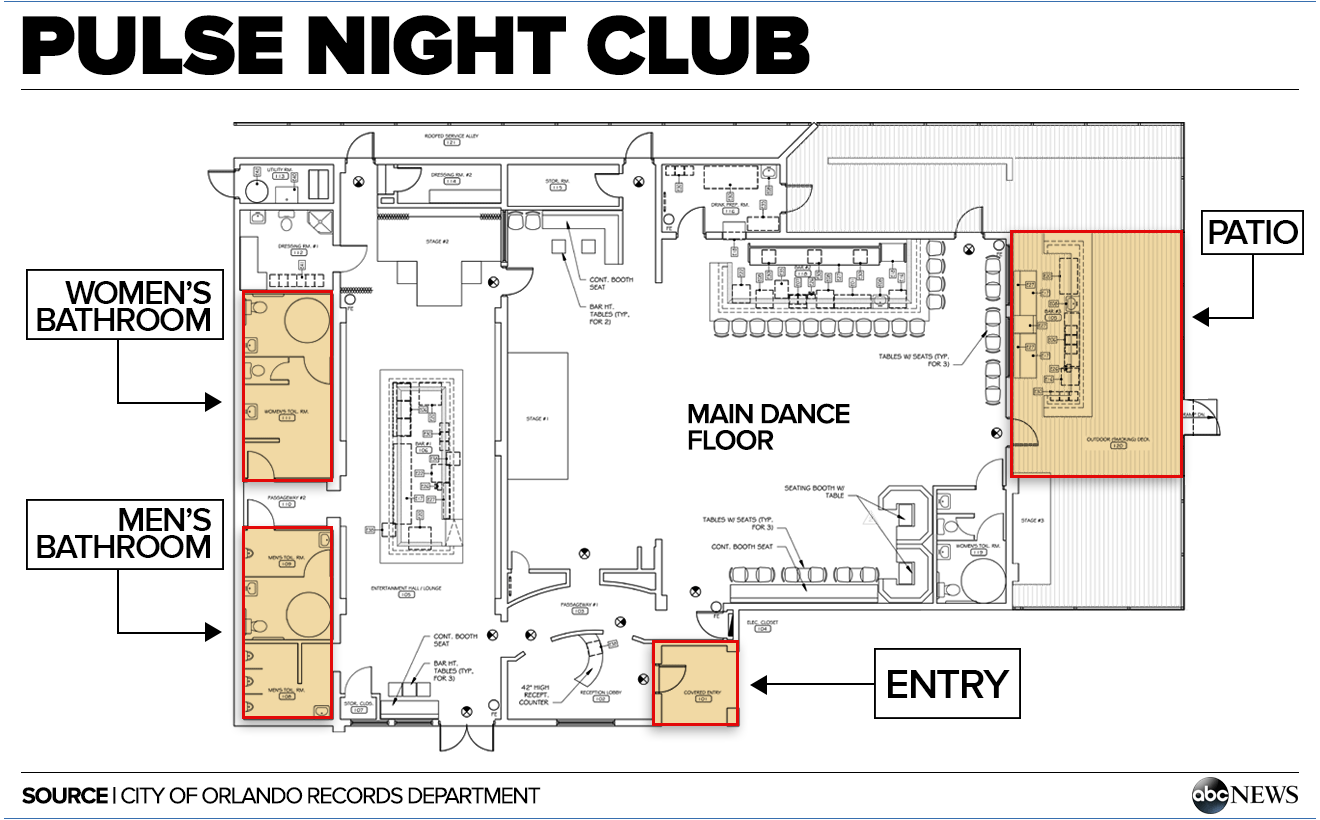 Fl mass shooting at pulse nightclub orlando 12 june for Nightclub floor plans