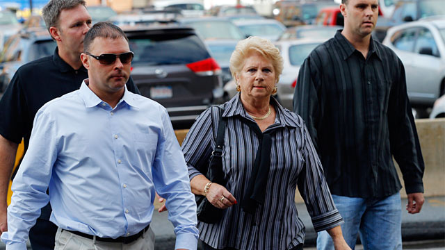 """PHOTO: Patricia Donahue arrives for the first day of the trial of accused mobster James """"Whitey"""" Bulger at federal court in Boston, June 12, 2013."""