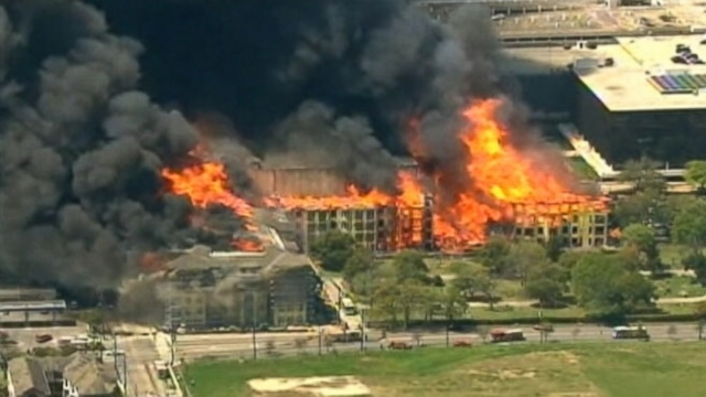 No reports of injuries at the five-alarm fire at a Houston building under construction.