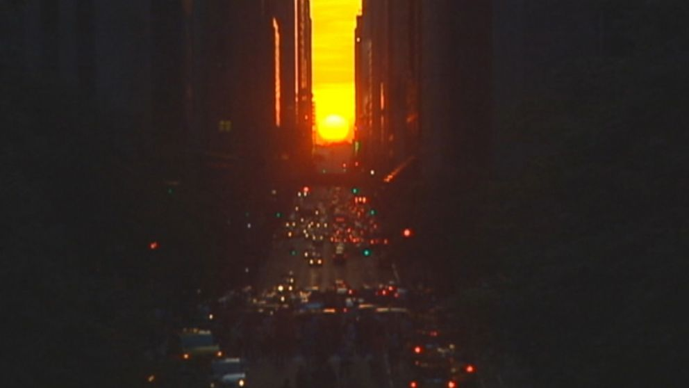 Twice a year, the sun sets in perfect alignment with Manhattans cross-streets.