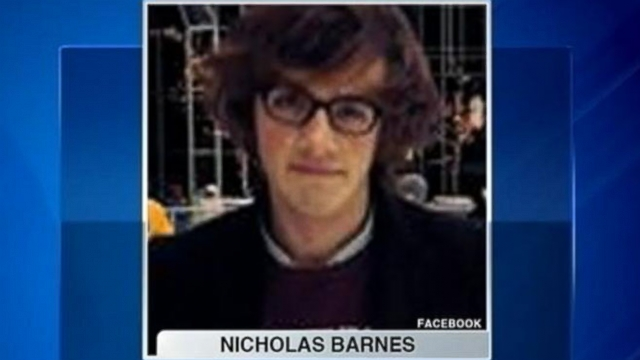 The body of Nicholas Brastins Barnes, 20, was discovered after students complained of smell.