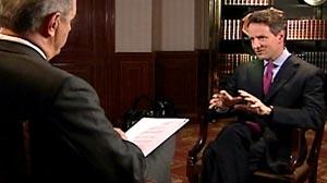 Photo: ABC News Charles Gibson interviews Treasury Secretary Timothy Geithner on World News.