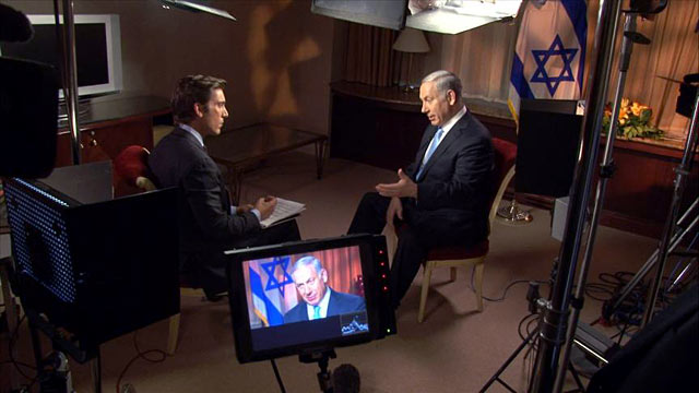 PHOTO:ABC News David Muir interviews Israeli Prime Minister Benjamin Netanyahu after he appears before the U.N. General Assembly.