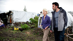 PHOTO: Seen here is Ben Affleck and Cindy McCain walking through the Mugunga III Refugee Camp outside Goma.