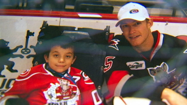 PHOTO: Zach Bennett, an 11-year-old with a degenerative bone disease that took both of his legs, found hope and inspiration in his favorite hockey team, the Albany River Rats.