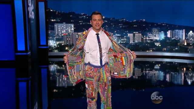 Jimmy Kimmel Dons Colorful Loom Suit