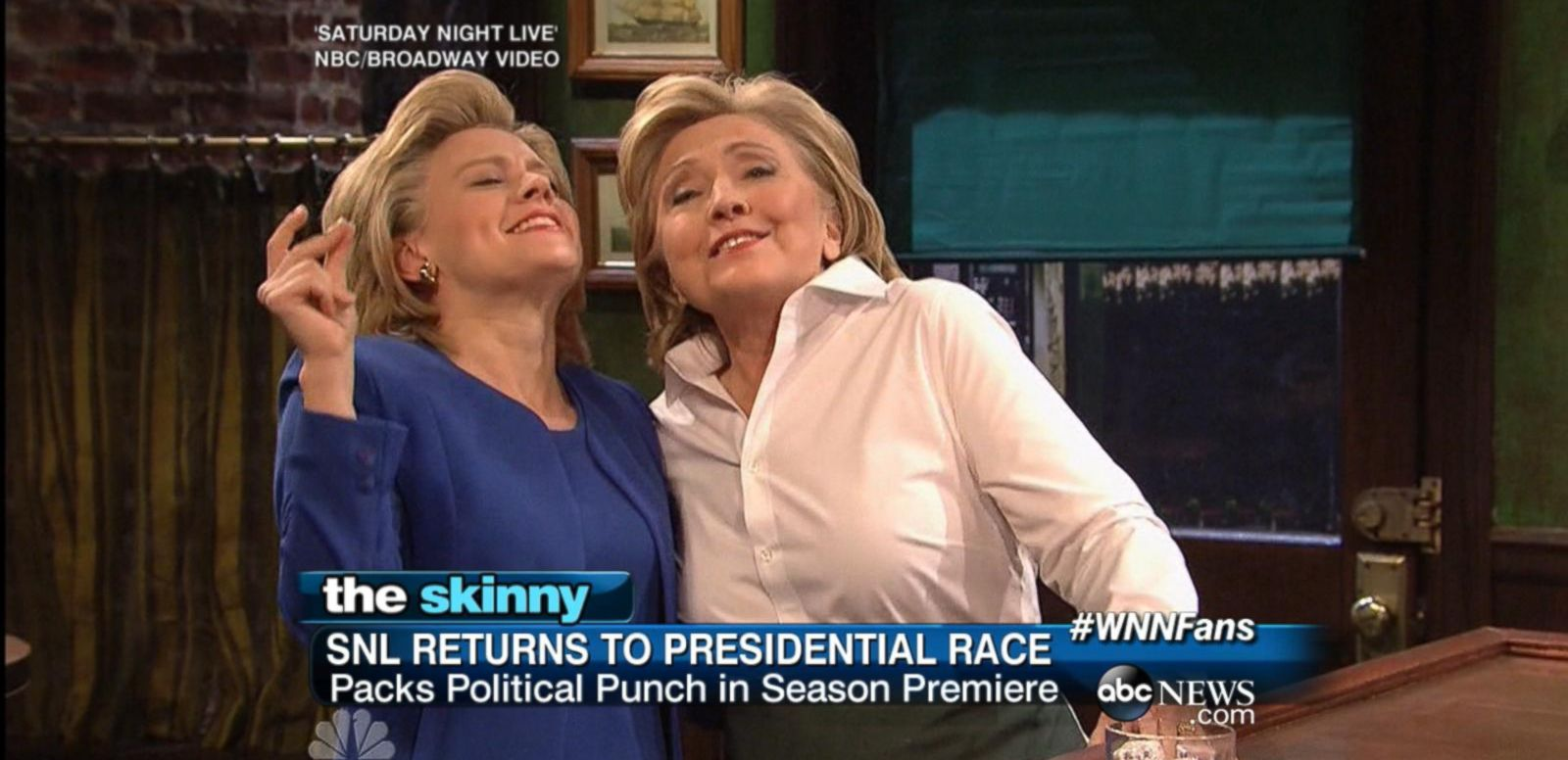 VIDEO: Democratic frontrunner Hillary Clinton makes a surprise appearance on SNL, playing a bar tender alongside actress and comedian Kate McKinnon.