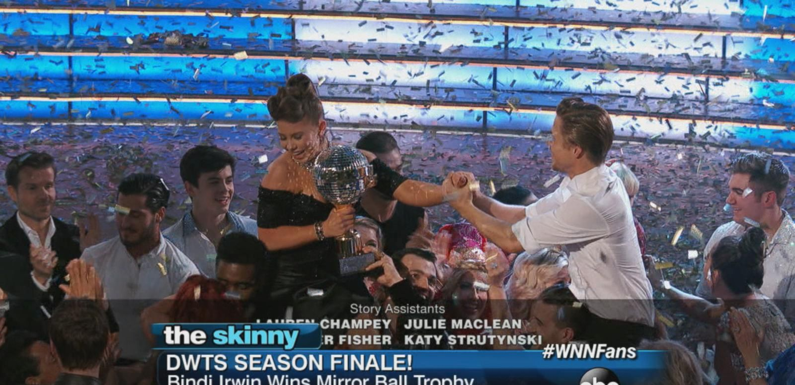 "VIDEO: Bindi Irwin basks in victory after winning the Mirror Ball trophy in the ""Dancing with the Stars"" finale."
