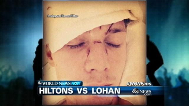 VIDEO: Lindsay Lohan denies being involved in an attack on Paris Hiltons brother Barron.