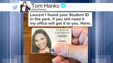 VIDEO: Index: Tom Hanks to the Rescue After Finding a Fordham University Students ID in Central Park