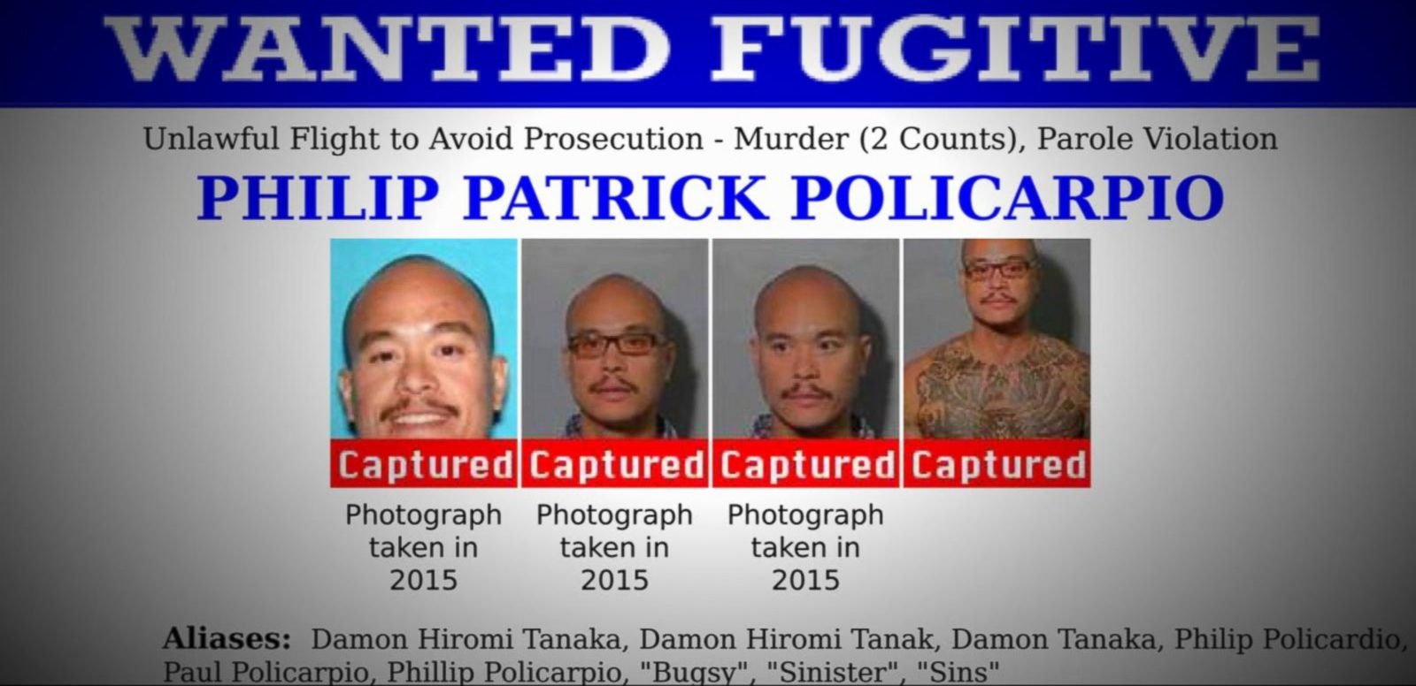 VIDEO: Index: One of the FBI's 10 Most Wanted Fugitives Philip Patrick Policarpio Captured