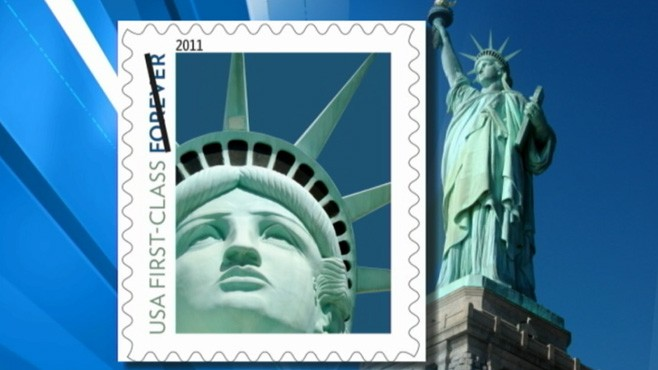 VIDEO: Postal Service uses image of statue in Las Vegas, not of original in New York.
