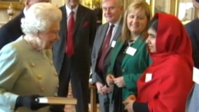 VIDEO: The girl who has fought for education for girls worldwide met with the queen.