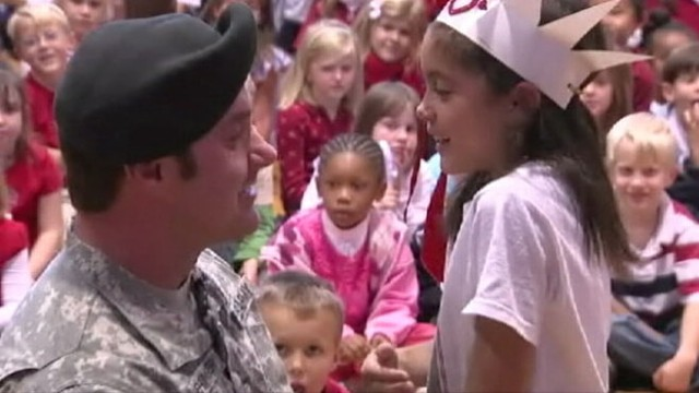 VIDEO: Sgt. Mark Mehringer reunites with daughter during elementary school assembly.