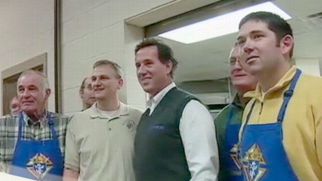 VIDEO: GOP frontrunner faces increasing competition from Santorum in Michigan primary.