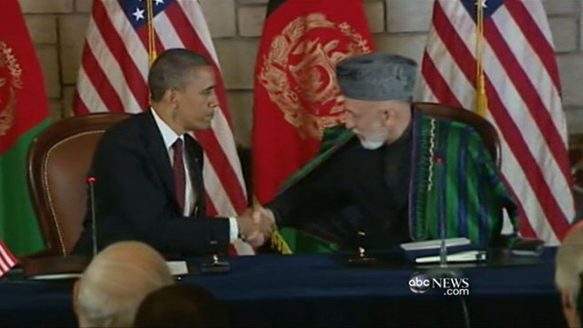 VIDEO: President meets with Hamid Karzai one year after Osama bin Ladens death.