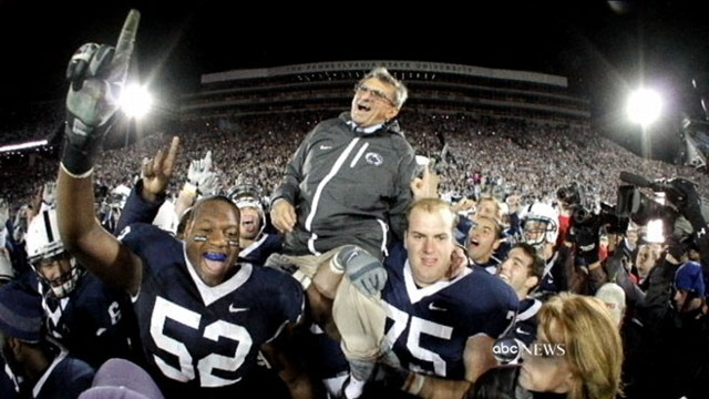 VIDEO: Mourners gather at the college to honor the legendary Penn State coach.