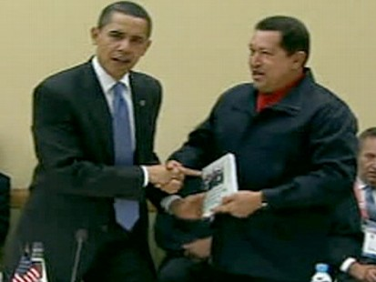 President Obama and Hugo Chavez
