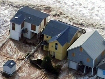 Hurricane Floods Homes