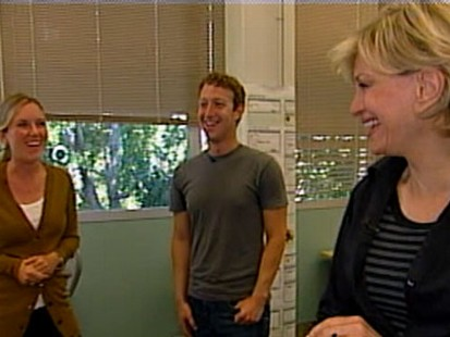 VIDEO: Facebook founder takes Diane Sawyer on an office-wide tour that includes a laundry room.