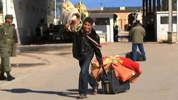 VIDEO: ABC?s Jeffrey Kofman speaks with some of the growing group fleeing Libya.