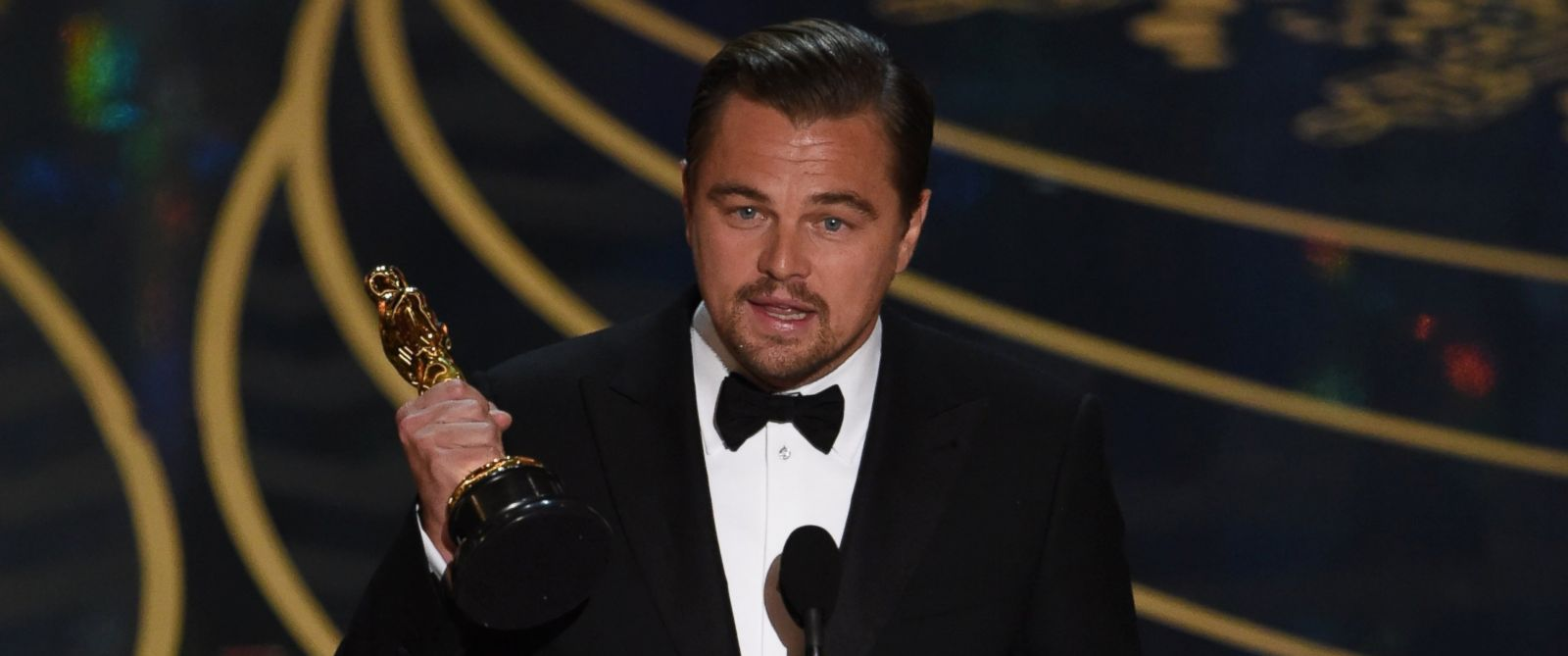 Leonardo Di Caprio after winning the Oscar. Image Courtesy:ABCNews