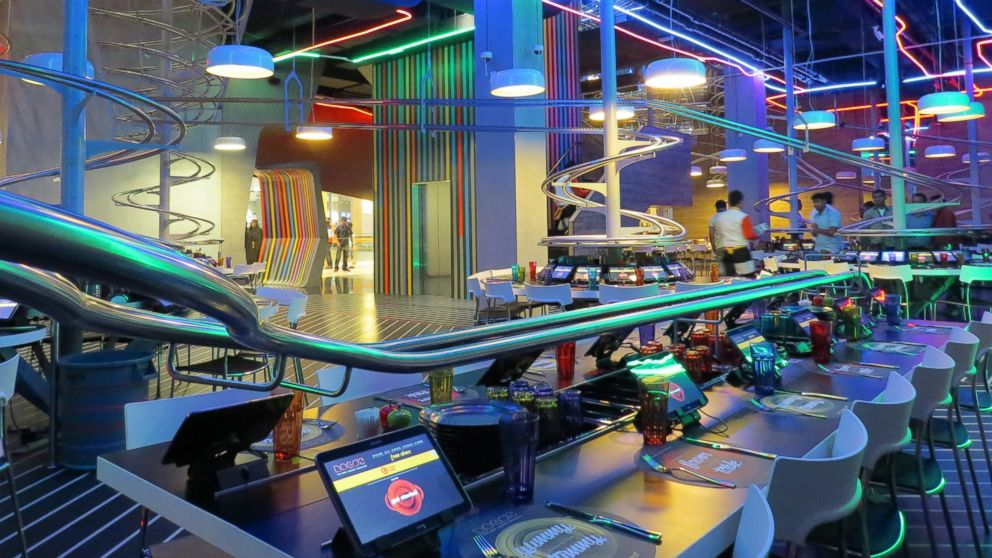 See Food On A Roll At New Roller Coaster Themed Restaurant