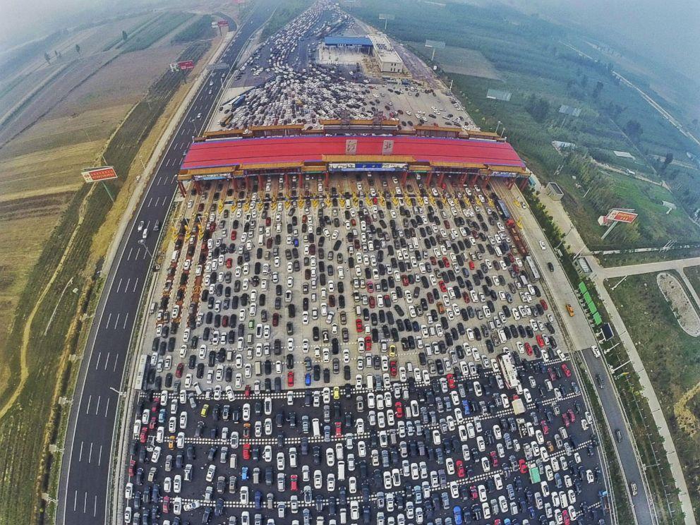 Thousands Of Cars Stuck In Beijing Traffic Jam On 50 Lane