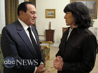 ABC News' Christiane Amanpour with President Hosni Mubarak
