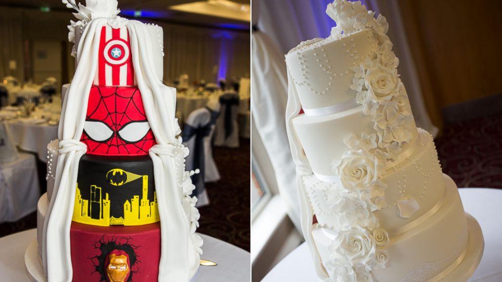 39 double take 39 superhero wedding cake is one of a kind abc news. Black Bedroom Furniture Sets. Home Design Ideas
