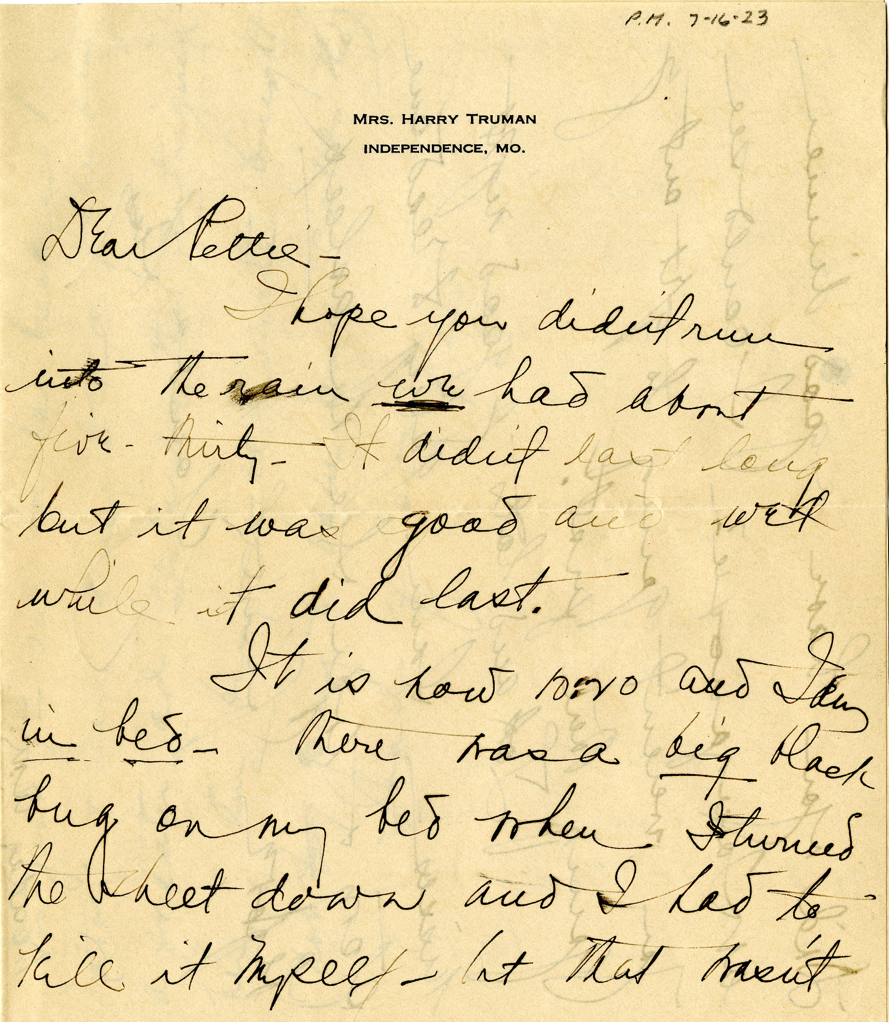 Former First Lady Bess Truman's Letters to President Harry Truman