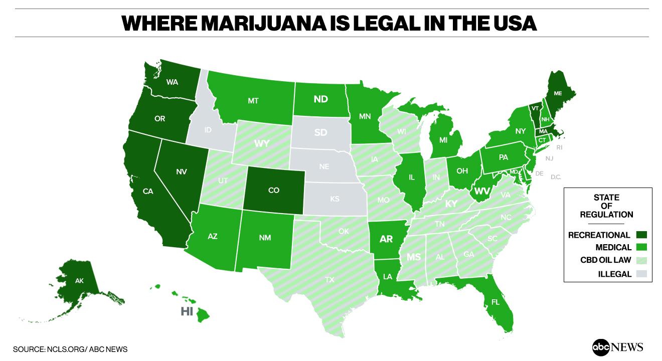 Medical Marijuana States Map 2016.Where States Stand On Legalizing Recreational And Medical Marijuana