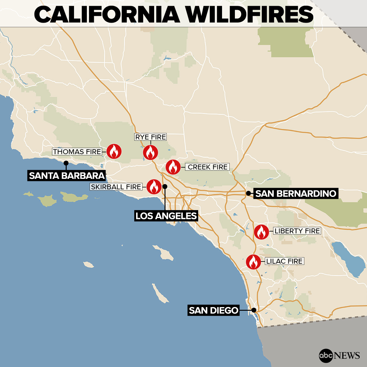 By The Numbers Southern California Wildfires Abc News